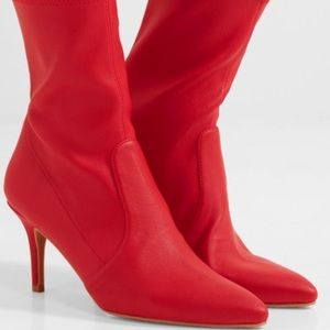 Stuart Weitzman 'Cling' Red Leather Boots, Size 8